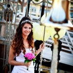 Bridal Fashion shoot on board HMS Schooner Pickle in Gibraltar Marina