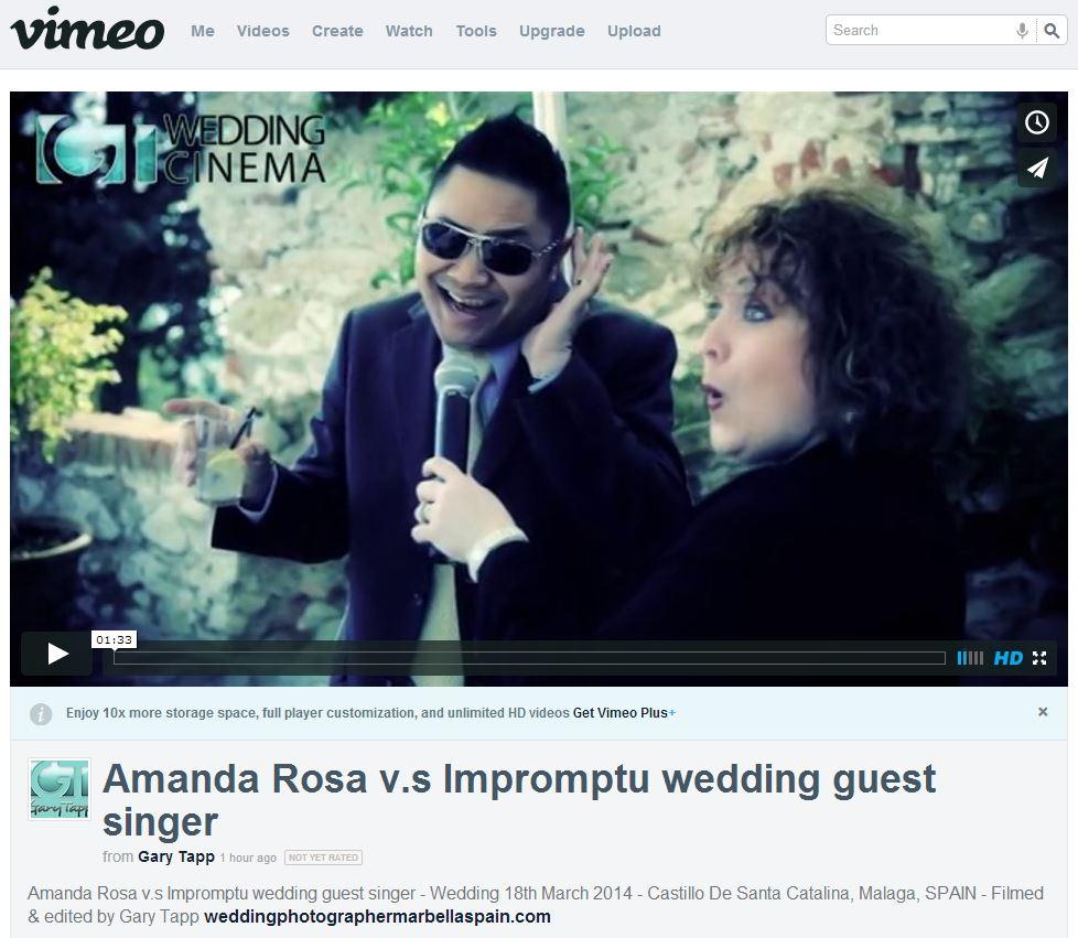 Amanda Rosa v.s Impromptu wedding guest singer