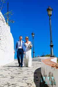 Bride and groom at their wedding in Nerja