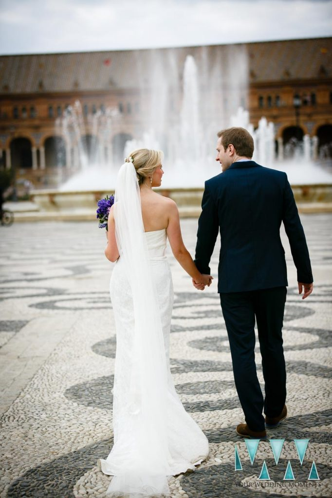 Plaza De Espana in Seville Wedding Photographer