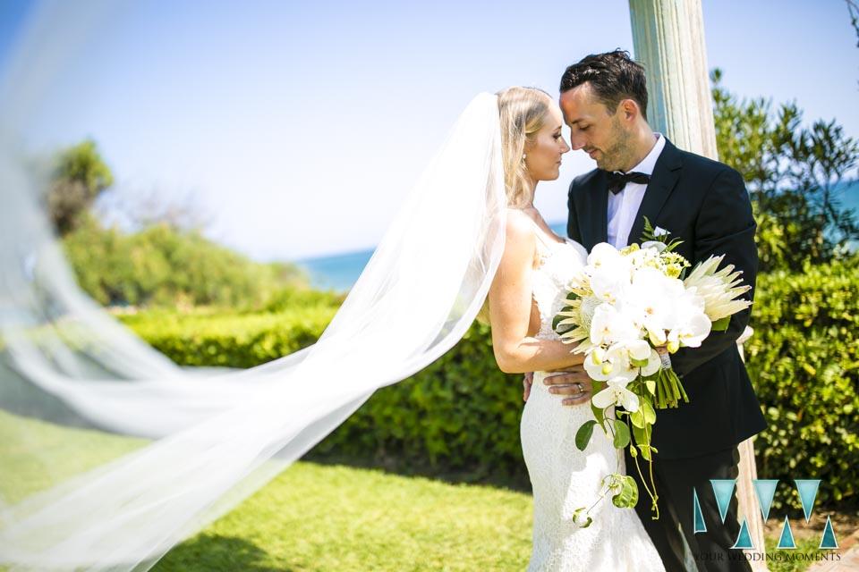 Villa Cisne wedding brides veil and groom