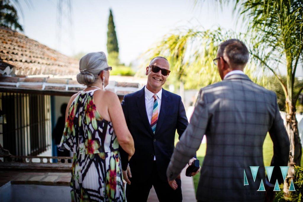 Rancho Del Ingles Wedding Groom meeting guests