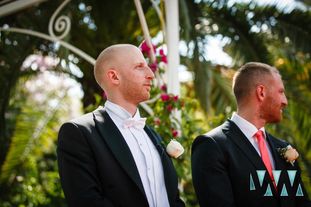 Finca La Concepcion wedding groom waiting for bride