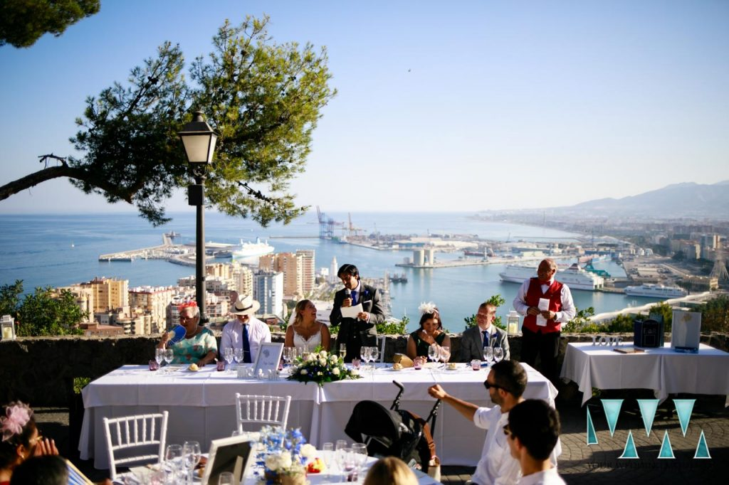 Parador De Gibralfaro wedding venue with views over Malaga City