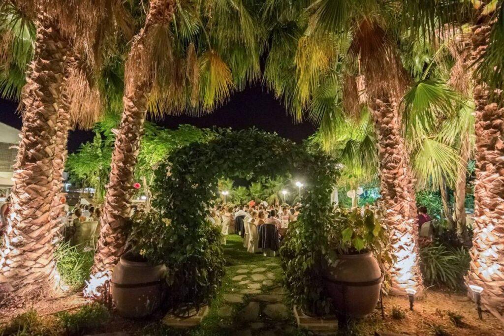 Wedding breakfast tables setup at the Jardines Del Trapiche wedding venue in Velez Malaga